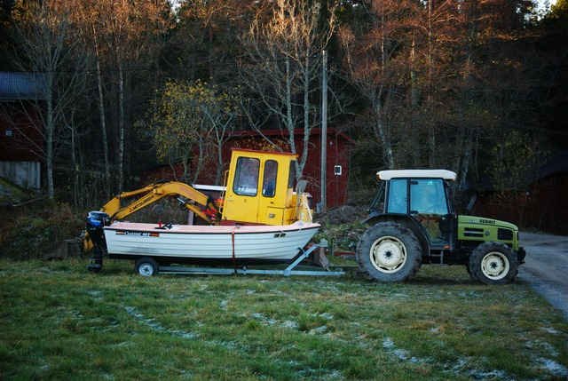 Our new mud-digging-boat-tractor